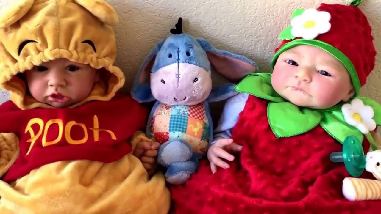 Reborn Baby Halloween! Batman Mickey Minnie Rapunzal Ariel Pooh u0026 Strawberry Costumes! So cute  sc 1 st  YouTube & Reborn Baby Halloween! Batman Mickey Minnie Rapunzal Ariel Pooh ...