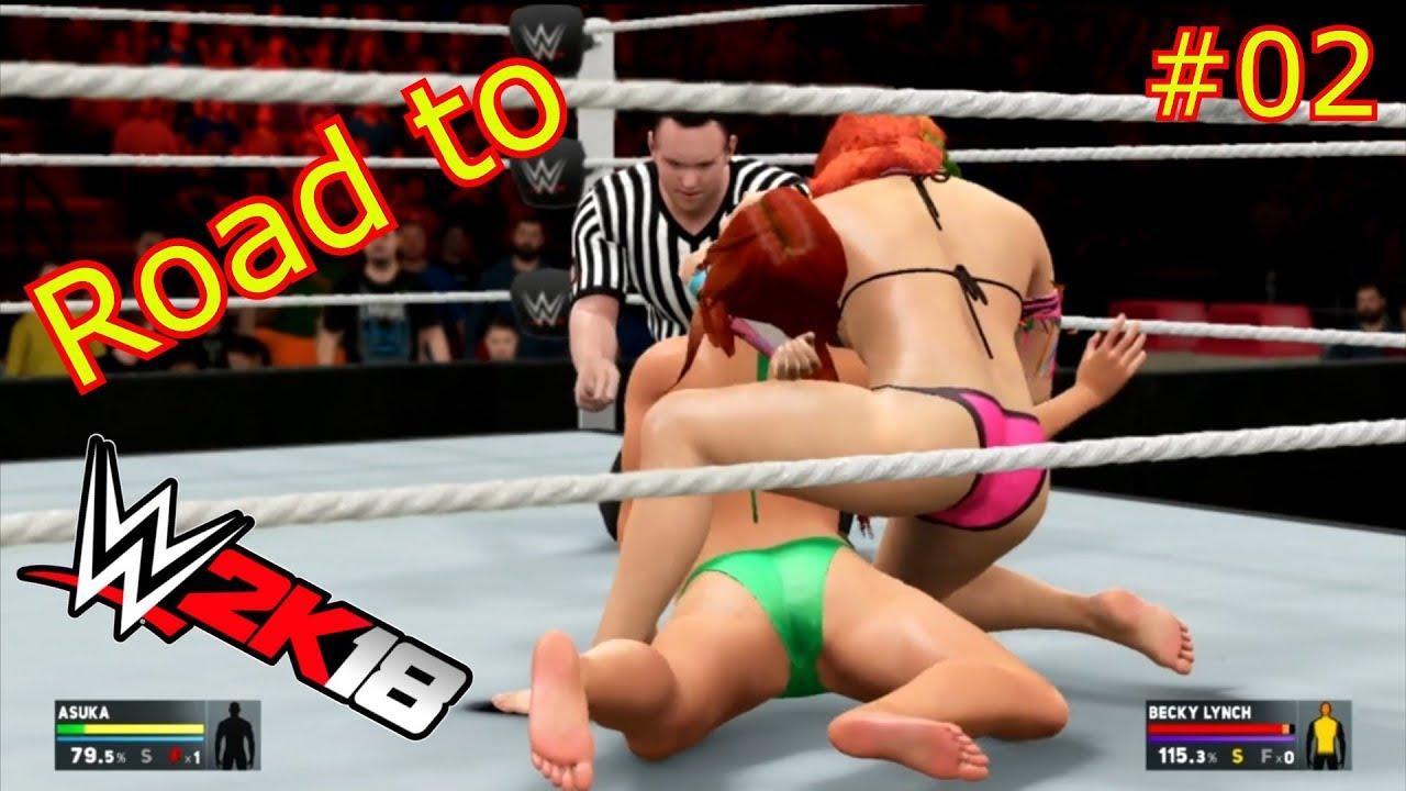 Asuka Vs Becky Lynch - Submission Match | Road to WWE 2K18 | WWE 2K17 Bikini  barefoot match
