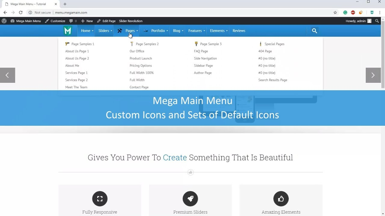 Custom Icons in Mega Main Menu plugin for WordPress