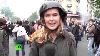 «صفع» مذيعة أثناء تغطيتها احتجاجات في باريس