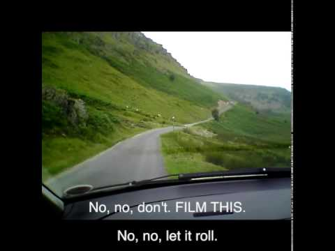 Driving in Wales: Squeeze Play on the mountain road between Tregaron and Abergwesyn, Wales.