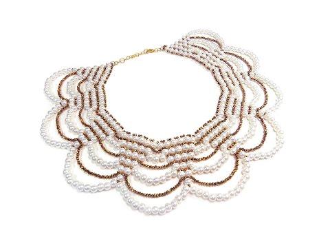 Tutorial: beaded collar necklace with pearls / Колье из бисера и бусин (мастер-класс)
