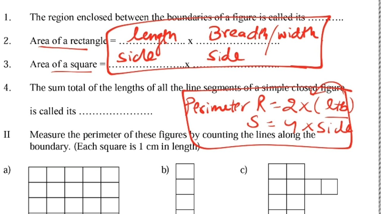 Worksheet Area And Its Boundary Class 5 Maths By Kv Teachers Ncert Extra Question Answers Youtube