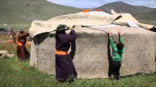 Montage d'une yourte en Mongolie