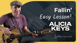 Alicia Keys Fallin Guitar Lesson Justin Guitar Easy Acoustic Beginners Finger Picking Tutorial
