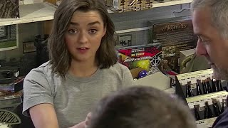 Maisie Williams (aka Arya Stark) Pranks Game of Thrones Fans(Here is what happens when you put Arya Stark, hidden cameras, and die-hard Game of Thrones fans into an RPG store., 2016-04-20T13:38:46.000Z)