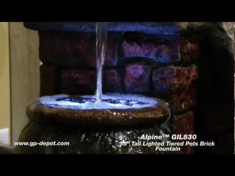Two Tiered Pots Brick Water Fountain