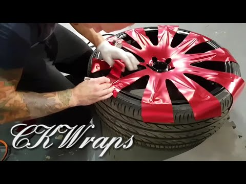 How to vinyl wrap wheels (faces) using satin red chrome vinyl. By @ckwraps