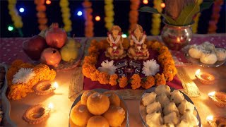 Bokeh shot of a decorated puja place/ mandir/ home temple for Diwali festival