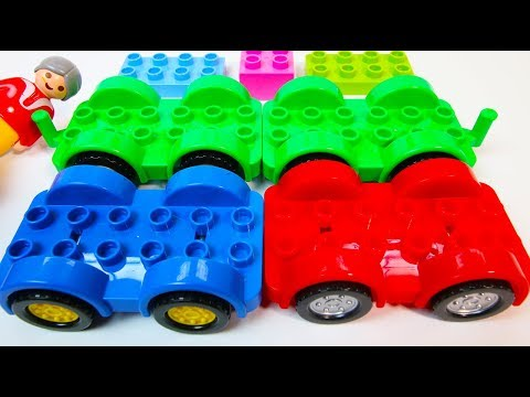 Learn Colors RED, GREEN, BLUE with Duplo Cars | A Building Blocks Toys Video