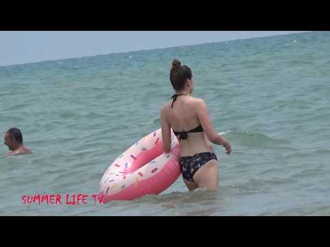 Spanish Beaches Sea Voyage, Walk Along The Beach, People Sunbathe, Summer Video.