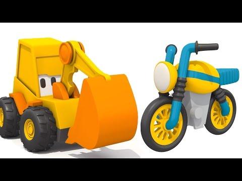 Развиващий мультфильм для детей. Экскаватор Мася и мотоцикл.