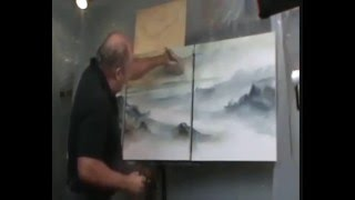 PAINTING seascape Art Contemporary How to DEMO start to finish Mix Lang