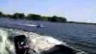 50 Merc pulling tube on Lake Mattoon