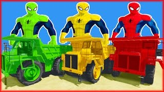 COLORS DUMP TRUCK PARTY w Spiderman colors Superhero Cartoon and Nursery Rhymes Songs for kids