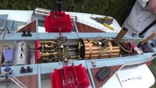 Bateau vapeur vive / Live steamboat RC : La machine à vapeur du Pilat de Claude