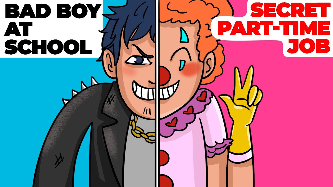 I'm a Bad Boy at School but I have a Secret: I am a Part time Clown | Animated Story