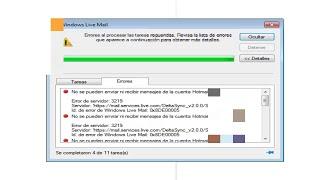 Reparar el error 3219 o 0x8DE00005 en Windows Live Mail / Hotmail 2016