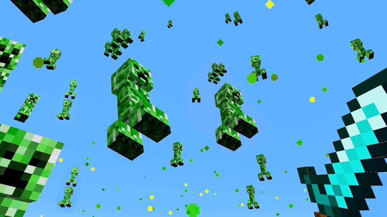 minecraft but it rains creepers thumbnail