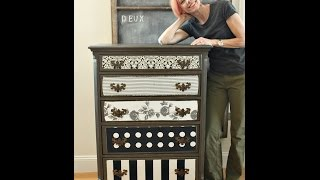 Decoupage Fabric over Painted Wood