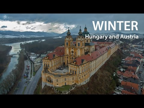 Flying in Winter over Hungary and Austria (4K)