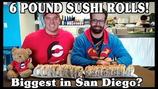6 lb Monster Sushi Roll Challenge w/ Randy Santel | Freak Eating in San Diego