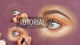 How to draw a realistic eye with Panpastel and colored pencils