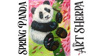 Learn How to paint with Acrylic on Canvas Spring Baby Panda playlive derpsquad