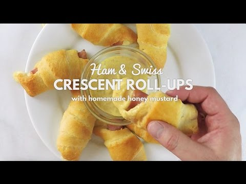 Ham & Swiss Cheese Crescent Roll Ups with Homemade Honey Mustard Dip