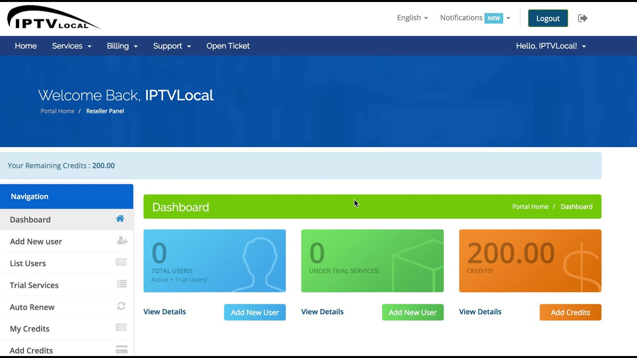 IPTVLocal com Panel of Reseller