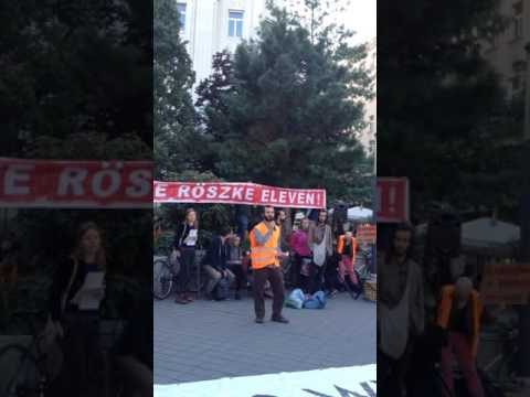 Yahya Abdullah reads a poem at the Röszke 11 demonstration  eng sub