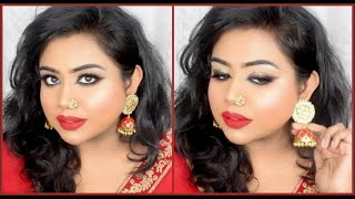 BLUE HEAVEN ONE BRAND WEDDING GUEST PARTY MAKEUP TUTORIAL   STEP BY STEP FOR DARK PIGMENTED SKIN
