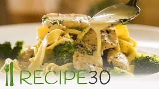 CHICKEN BROCCOLI FETTUCCINE ALFREDO STYLE - By RECIPE30.com
