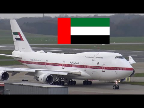 Abu Dhabi VIP Boeing 747 departing Hamburg Airport | 4K Ultra HD
