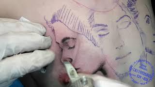 Процесс татуировки с женскими лицами и надписью  ч1   Тени в татуировке, подготовка эскиза