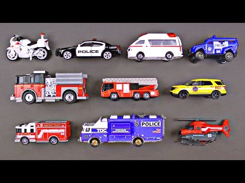 Thumbnail: Best Toddler Learning Emergency Vehicles for Kids #1 Police Cars Fire Trucks Hot Wheels Cars