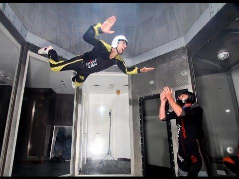 Novak Djokovic in Shaikh Hamdan's wind tunnel in Dubai