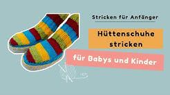 Hüttenschuhe mit Ledersohle stricken für Babys