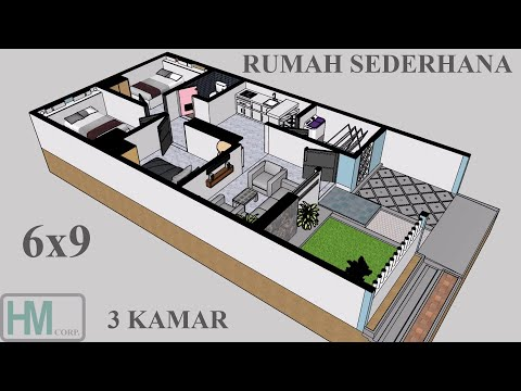 rumah sederhana 6x9 luas tanah 6x12 3 kamar - youtube