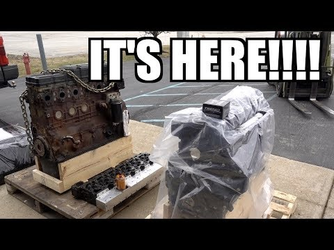 THE NEW BUILT CUMMINS ENGINE IS HERE!!!  IT'S AMAZING!!!