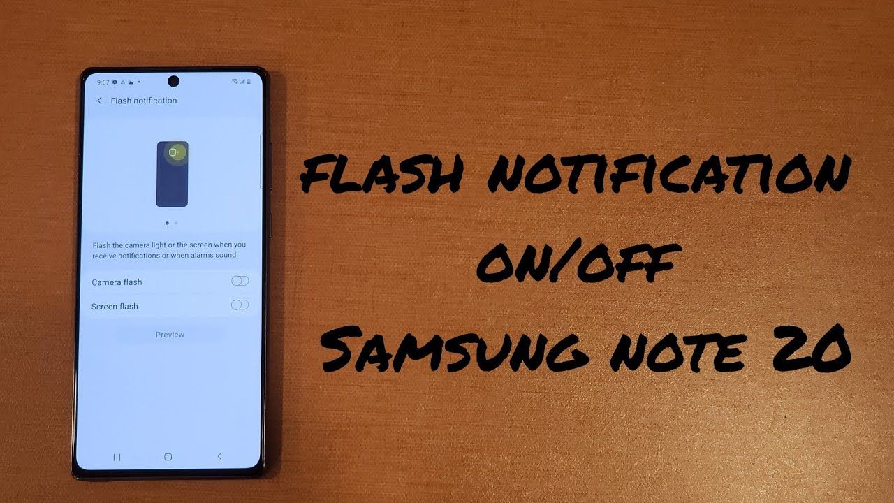 flash notification on/off Samsung Note 20