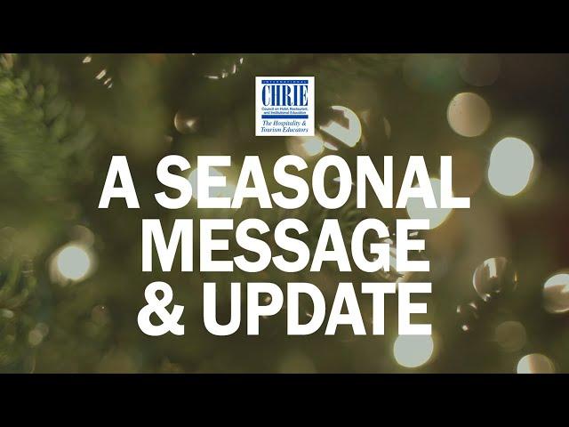 A Seasonal Update & Message from Joy Dickerson @ ICHRIE