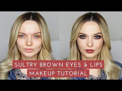 Sultry Smokey Brown Eyes & Lips Makeup Tutorial // MyPaleSkin