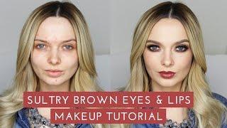 sultry smokey brown eyes lips makeup tutorial mypaleskin