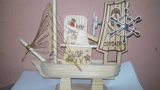 Corsair ship  Handmade LArge Sailboat Wooden Music Box Christmas Gift For kid Children Wooden carous