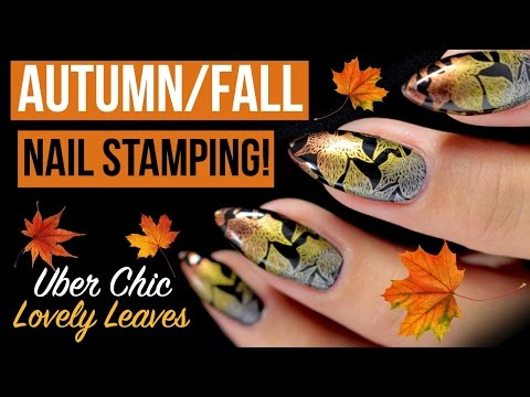 🍁🍂METALLIC GRADIENT AUTUMN/FALL NAIL STAMPING TUTORIAL | ÜBER CHIC LOVELY LEAVES PLATE