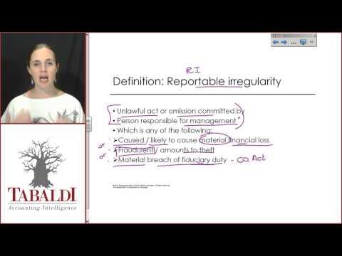 AUE2601 - Topic 2(A) - APA: Reportable Irreguarities