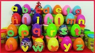 PlayDoh Alphabet Surprise eggs. Learn ABC with Kinder Surprise Eggs