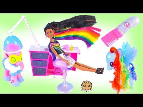 My Little Pony Rainbow Dash + Barbie Sparkle Hair Makeover ! Toy Video