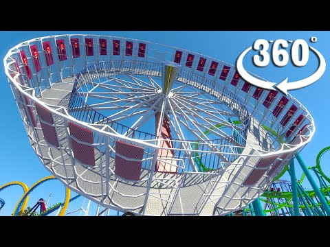 VR 360 Theme Park Round Up Spin Ride Roller Coaster video for Oculus HTC